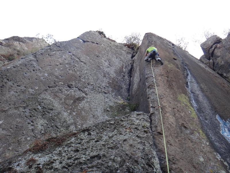 Francisco Herrera climbing Hunab-ku.<br> <br> Photo by Mauricio Herrera Cuadra.