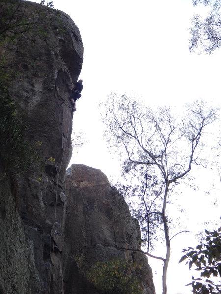 Paco Islas climbing Cyclope.<br> <br> Photo by Mauricio Herrera Cuadra.
