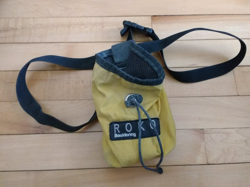 $5 shipped with something else worth shipping. ROKO chalk bag.  Never heard of the brand which means it's a novelty item and probably worth at least double its weight in gold.  There is some leftover chalk inside to ensure when you receive it the package is a mess.  There might even be a twig hiding in there too.  You'll never know if you don't buy.