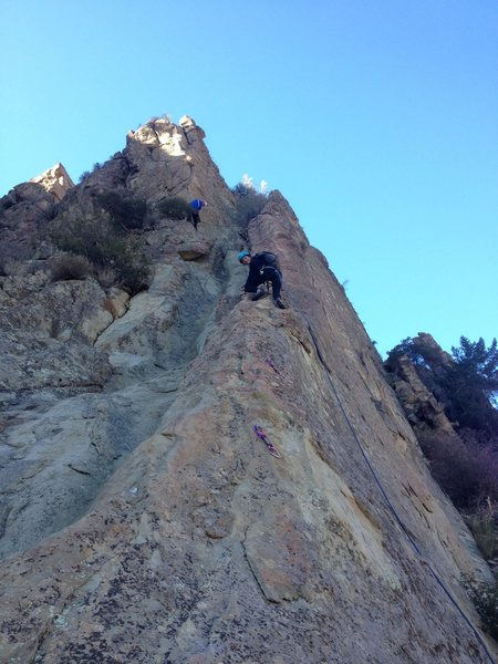 Rock Climbing Photo: Allison cranking down her first outdoor climb. Fre...