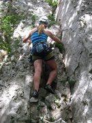 Rock Climbing Photo: Jennifer Wilson starting up Mična gospodična