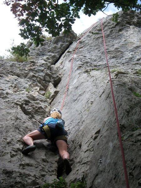 Rock Climbing Photo: Jen gettin' a lap on Mična gospodična
