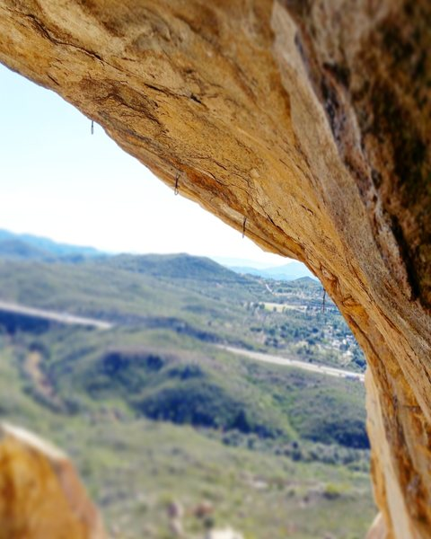 Overhang. Considered to be the hardest route in the county, if not, southern CA.
