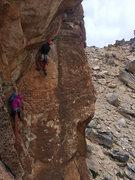 Rock Climbing Photo: The crux undercling (P2) of Sudafricana.  Photo Cr...