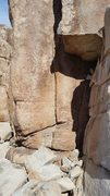 Rock Climbing Photo: The gap where some of the blocks fell from. Note t...
