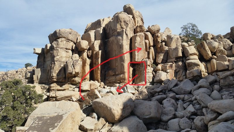 Rock Climbing Photo: Rock fall with arrows and things...