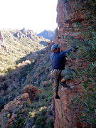 Rock Climbing Photo: AMH on the FA. Pic by Nestor.