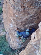 Rock Climbing Photo: AMH starting up on the FA. Pic by Nestor.