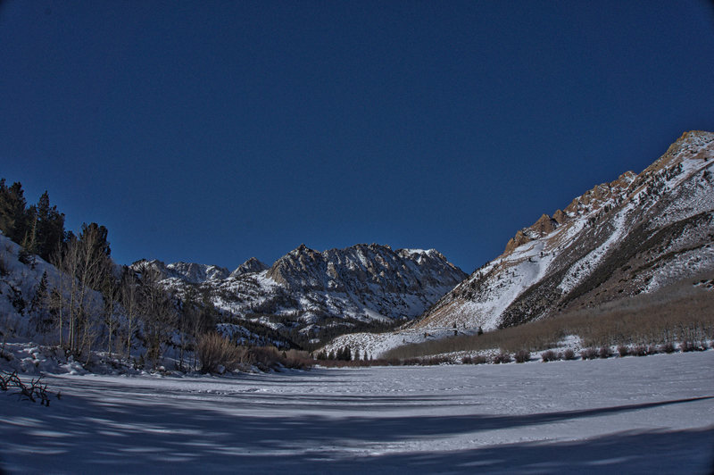 North Lake frozen in winter.