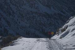 Rock Climbing Photo: Sara Susca skinning up North Lake Road.