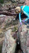 Rock Climbing Photo: Laurel Arndt belays Catherine Connor on the finish...