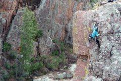 Rock Climbing Photo: Laurel Arndt FA on Big Green Tonto 5.8+