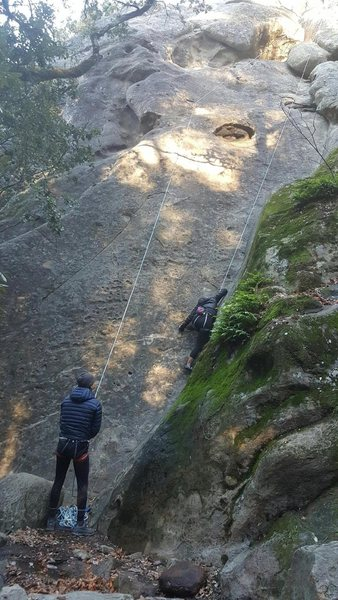 Rock Climbing Photo: Heading up dihedral on degeneration