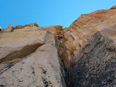 Rock Climbing Photo: Sarah approaching the crux