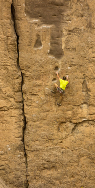 John Barbella onsight cruising on an early ascent. yeah buddy!!!