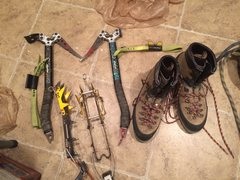 Axes crampons and boots