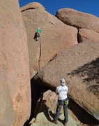 Rock Climbing Photo: Pete T watches Mike Knarzer on FA of Profect Dilem...