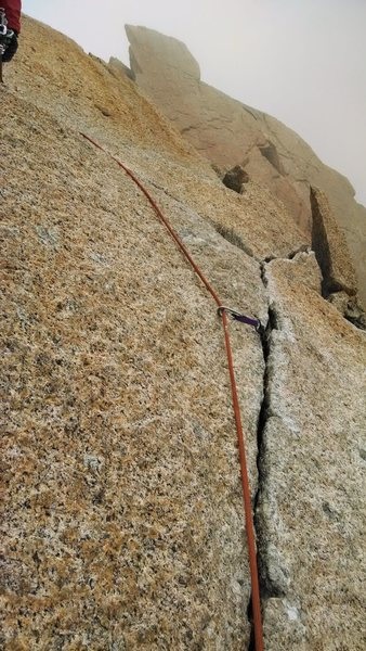 Rock Climbing Photo: You can see where the crack was chipped.