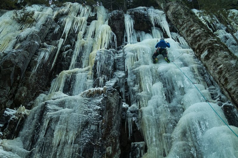 ADK Ice climbing 2016<br> Photo: Adam Nawrot<br> Doctor Villarica&#39;s Rocket Polish at Lock Ness.