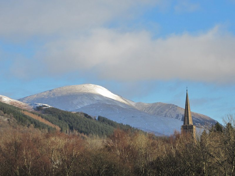 Keswick steeple and Blencathra Mt