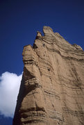 Rock Climbing Photo: Strappo cleaning near the top of pitch 1.