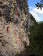 Rock Climbing Photo: Orange rope is on Revolucion and draws are on Resi...