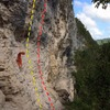 Orange rope is on Revolucion and draws are on Resistencia.  Pompi Pompi is next route to the right.