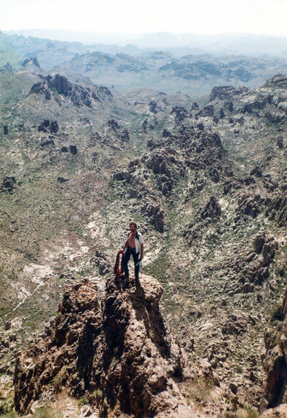 Dano and Richard climbing Weaver`s Needle, Superstition Mountains 1986. Photo by Dano