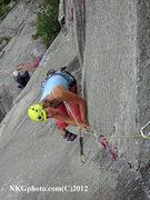 Rock Climbing Photo: cranking pin scars in VT.