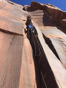 Rock Climbing Photo: Drilling the first bolt