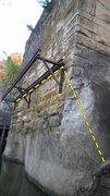 Rock Climbing Photo: The traverse of Davey Jones' Mum. Shallow wate...