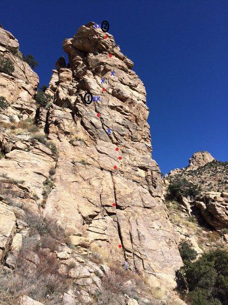 Rock Climbing Photo: Keyhole Rock Topo
