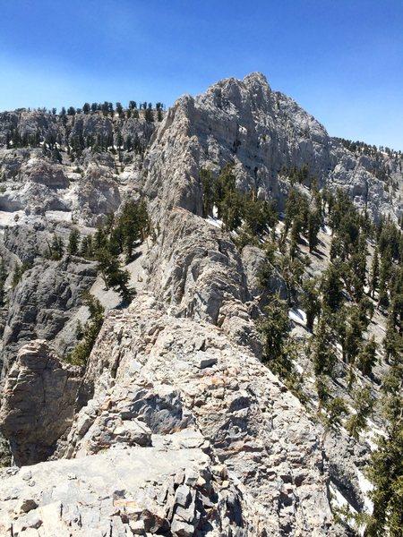 Mummy Mountain, Southern traverse approach