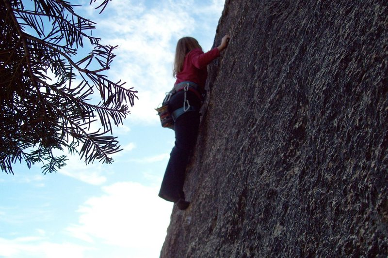Rock Climbing Photo: Amy Wilkins on the crux of Water Wheel.5.8