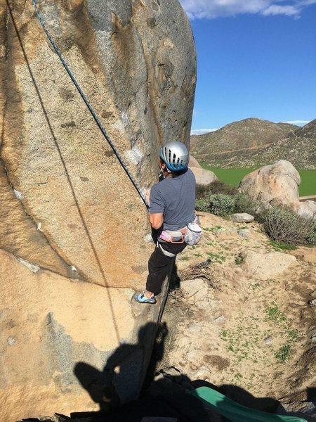 Rock Climbing Photo: FA cleaning