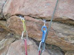 Rock Climbing Photo: Protection for the last moves to the anchor on Rou...