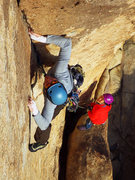 Rock Climbing Photo: Ryan onsighting Fire Or Retire with Joan.  Jan 201...