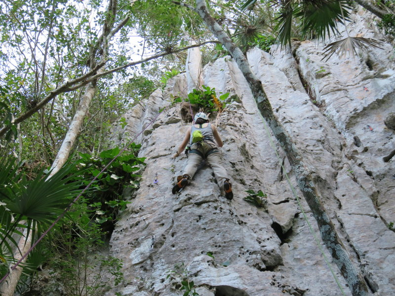 Rock Climbing Photo: My daughter Jasmine top roping Comiquita, near the...