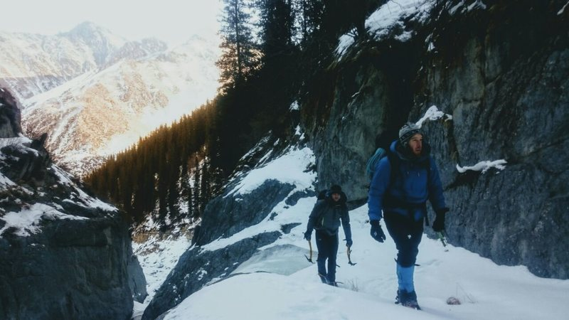 Working our way up the gorge.  Photo credit goes to Pasha Bolshakov