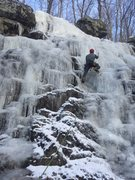 Rock Climbing Photo: Aaron Napotnik leading up the lower fall on FA cli...