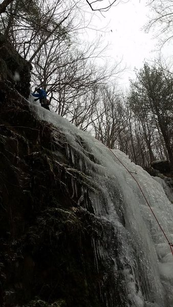 Tristan Napotnik leading the lower fall