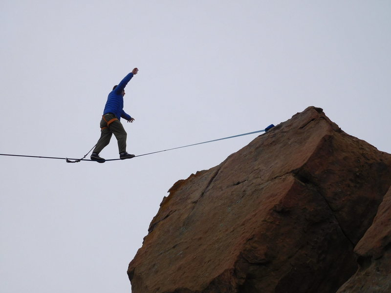 Rock Climbing Photo: About to complete a successful highline from the O...