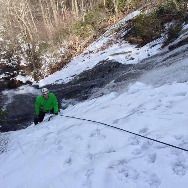 Toproping the thin-but-in ice on the upper falls before it all melted