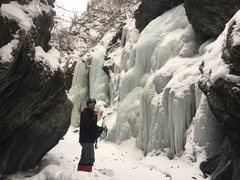 Rock Climbing Photo: Ice everywhere, up the right fork.