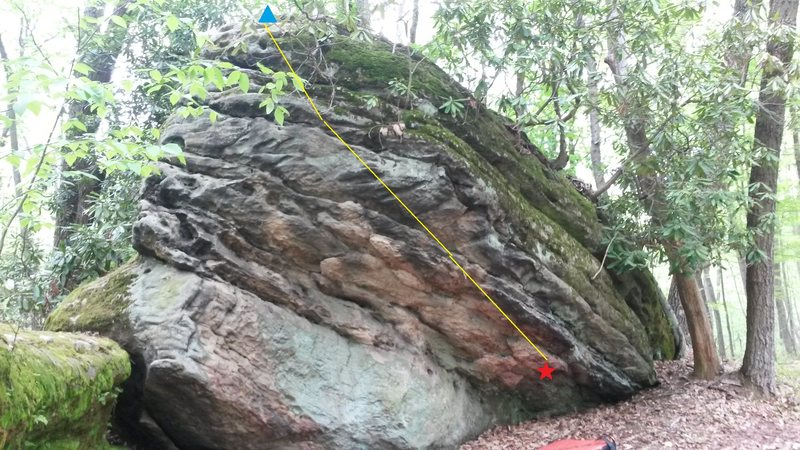 Rock Climbing Photo: Red star to blue triangle!