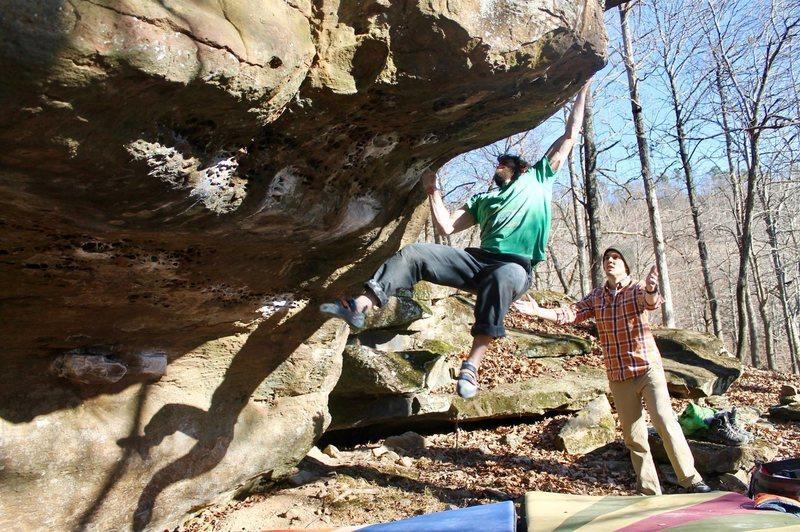 Rock Climbing Photo: sticking the big move