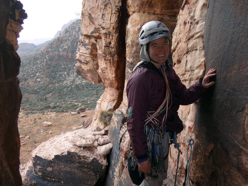 Rock Climbing Photo: Looking out from the chimney/alcove at the start o...