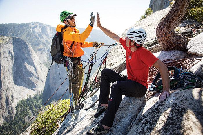 Honnold and climbing partner David Allfrey celebrate breaking the speed record on El Capitan's Tangerine Trip