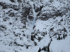 Rock Climbing Photo: Only ice visible January 2017. In obvious avy path...
