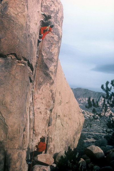 Swami belts and hip belay&#39;s circa 1986.<br> Dave Groth on the sharp end, Mark Wenzel clutching the string.